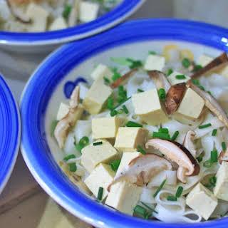 Miso Mushroom Udon with Tempura Vegetables.