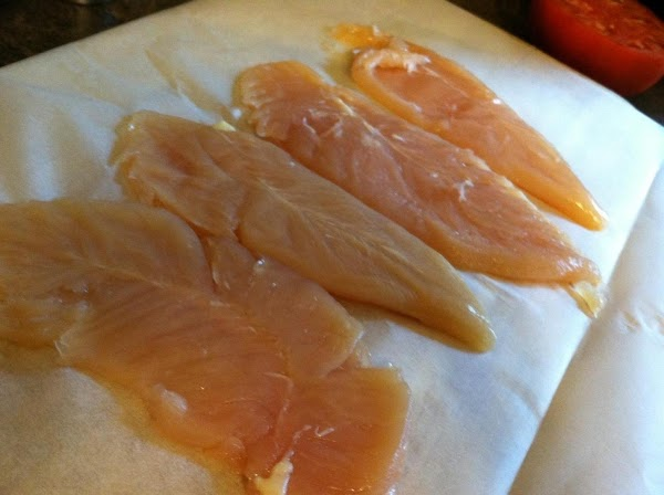 1.	Take the 4 chicken breast and place between 2 sheets of parchment and pound...
