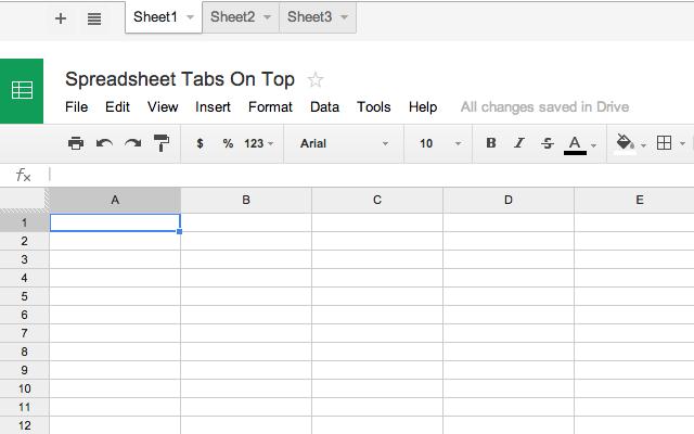 Spreadsheet Tabs On Top