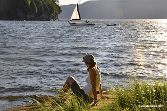 Photo: Watching a sailboat come in at Kingsland Bay State Park by Julia Parent