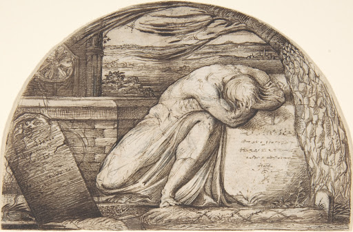 A Figure Weeping Over a Grave