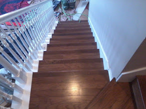 Photo: 3'' hardwood engineer install with custom stain to match stair noising flooring by Bruce hardwood floors
