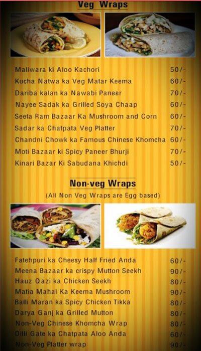 Dilli6 on Wheels menu 1