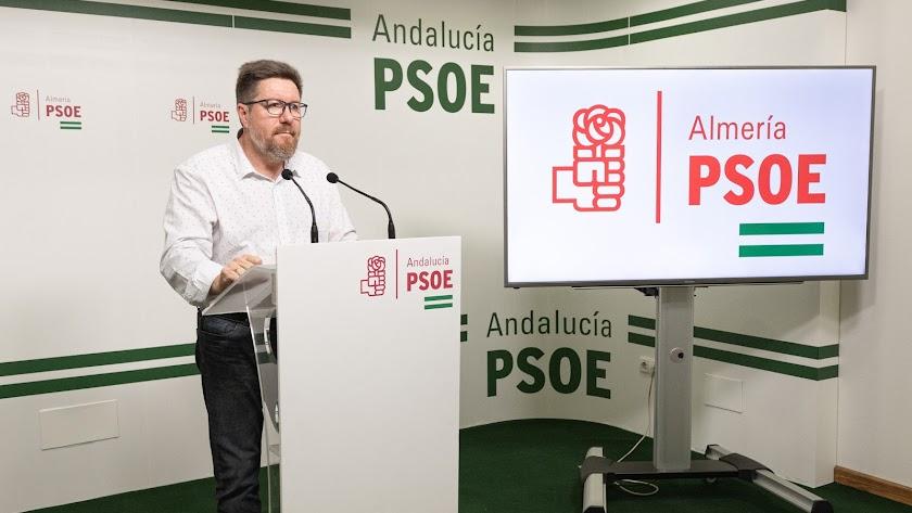 rodrigo sánchez ayer en la sede del PSOE.