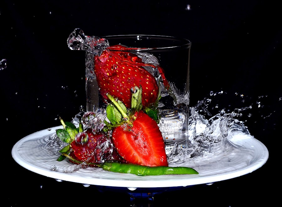 twin strawchili 4 by Angelo Jadulco - Food & Drink Fruits & Vegetables ( water, red, splash, glass, strawberry, chili )