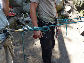 Photo: Tying-off the belay