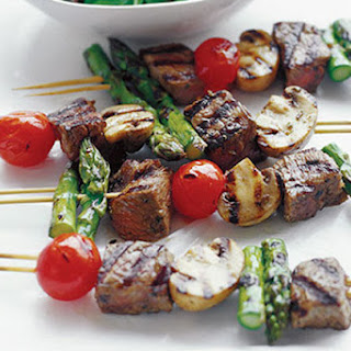 Sizzling Beef & Vegetable Kabobs.