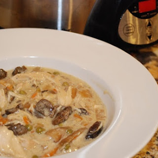 Creamy Mushroom and Chicken Stew Crock Pot.