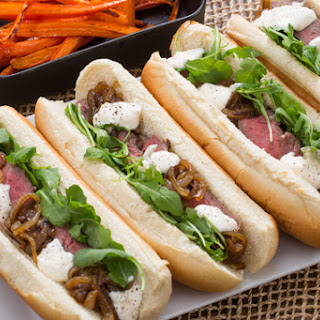 Steak Sandwiches & Roasted Carrots with Caramelized Onion & Lemon Aioli