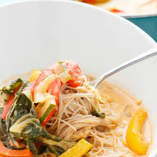 Coconut Curry Soup over Vermicelli Rice Noodles.