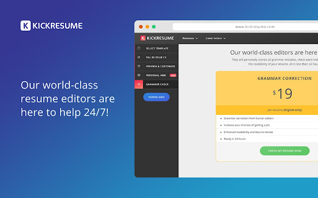 kickresume find your dream job chrome web store