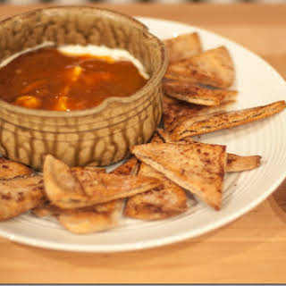 Caramel Apple Dip with Cinnamon Sugar Pita Chips.