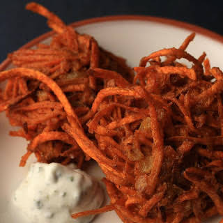 New Mexican Sweet Potato Latkes With Lime–sour Cream Sauce.