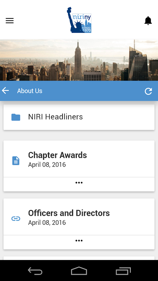 NIRI New York Chapter App- screenshot