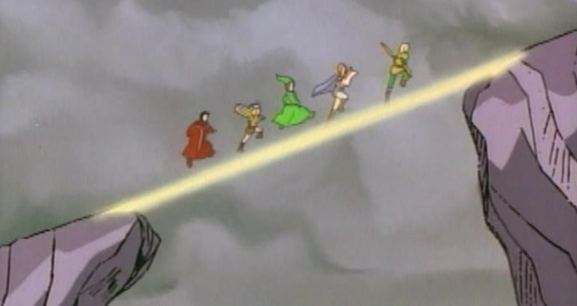 Eric, Presto, Sheila, Hank, and Bobby cross a magic bridge.