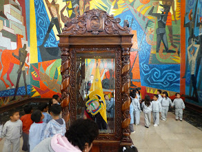 Photo: Inside the three-wall mosaic mural  celebrating the Spanish discovery of the Amazon