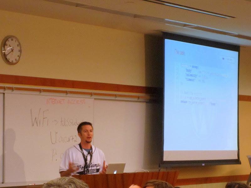 "Photo: @BlueDogWeb presenting ""Integration of WordPress with External APIs"" at WordCamp San Diego"