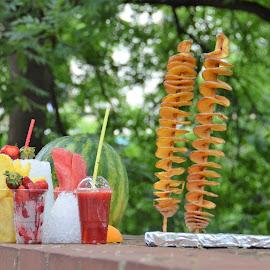Fruit Drinks and Potato Snack Foods to Go in Prague, Czech Republic by Sheri Fresonke Harper - Food & Drink Fruits & Vegetables ( czech republic, potato, to go, sheri fresonke harper, fruit drinks, prague, snacks, food,  )