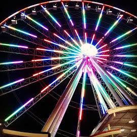 Ferris Wheel. by Jennifer Durham - City,  Street & Park  Amusement Parks ( ferriswheel, pigeonforge, theislandpigeonforge, smokeymountains, prettycolors, roundandround, winterfest2015, winterfest,  )