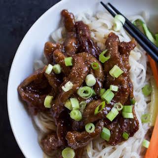 Honey Sriracha Mongolian Beef with Rice Noodles.