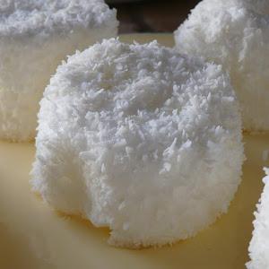 Coconut Meringues on Custard