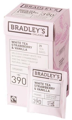 Vitt te smaksatt med jordgubb och vanilj - Bradley´s
