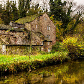 old mill by Ray Heath - Buildings & Architecture Decaying & Abandoned ( colour, uk, autumn, old mill, foliage, waterfall, weir, derelict, architecture- design, reflections, landscape, derbyshire,  )