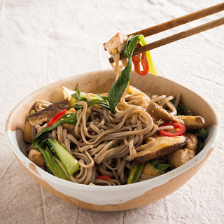 Sesame Noodles with Shitake Mushrooms and Pak Choi.