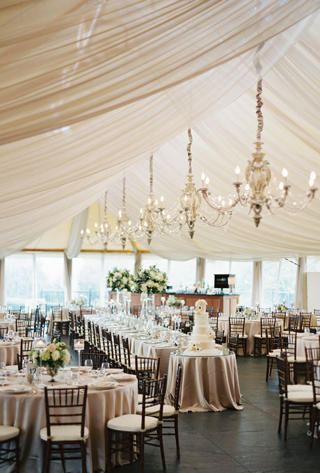 Beautiful Wedding Tent Ideas: Draped Fabric and Hanging Chandeliers
