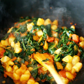 SPINACH WITH POTATOES / ALOO PALAK.