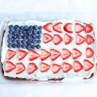 American Flag Chocolate Pudding Poke Cake.