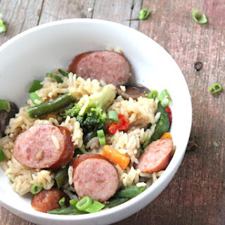 Easy Asian Veggies and Sausage Casserole.
