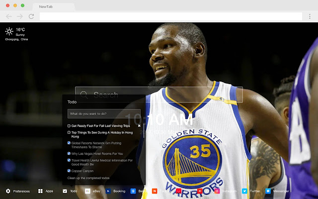 Kevin Durant Pop Basketball HD New Tabs Theme