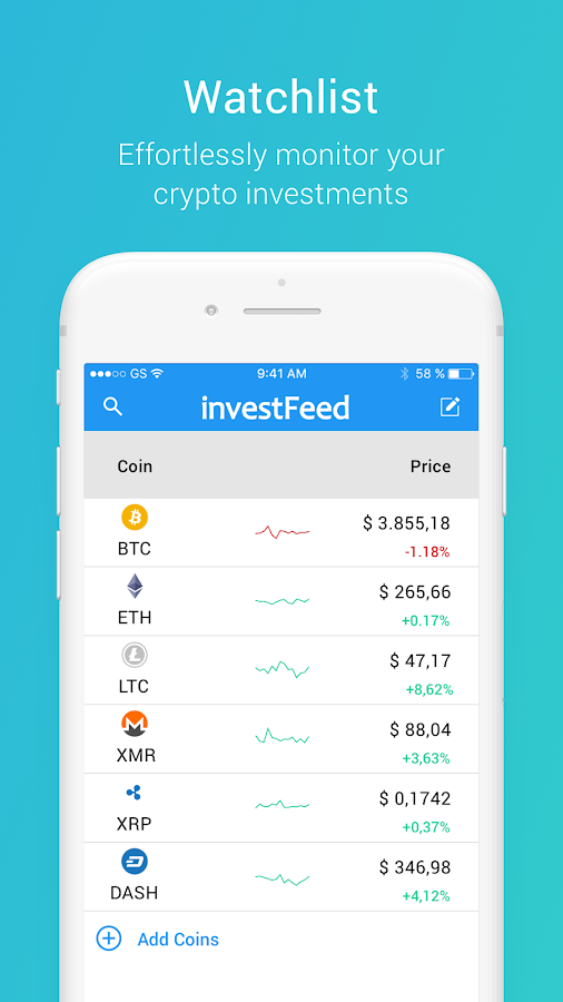 investFeed Cryptocurrency Social Network- screenshot
