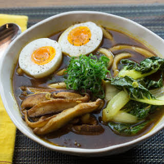 Udon Noodle & Tatsoi Soup with Japanese Curry Broth & Soft-Boiled Eggs.