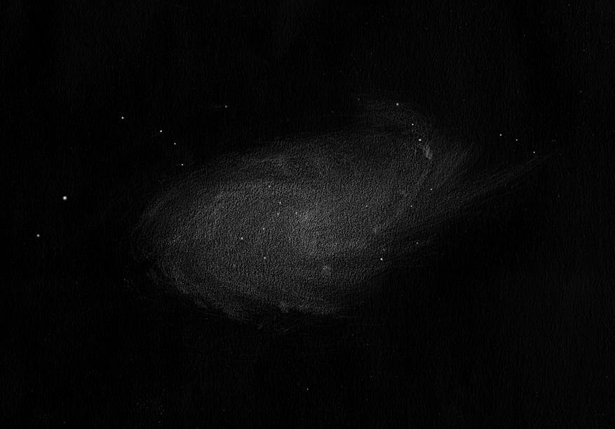 Photo: M33 au T406 à 88X depuis Ste Gemme le 28/08/11. Mise en place rapide. Grande galaxie mais très diluée, cependant on parvient à extirper quelques condensations (d'où l'aspect moutonneux), qui sont des paquets d'étoiles ou des nébuleuses de M33 elle-même.