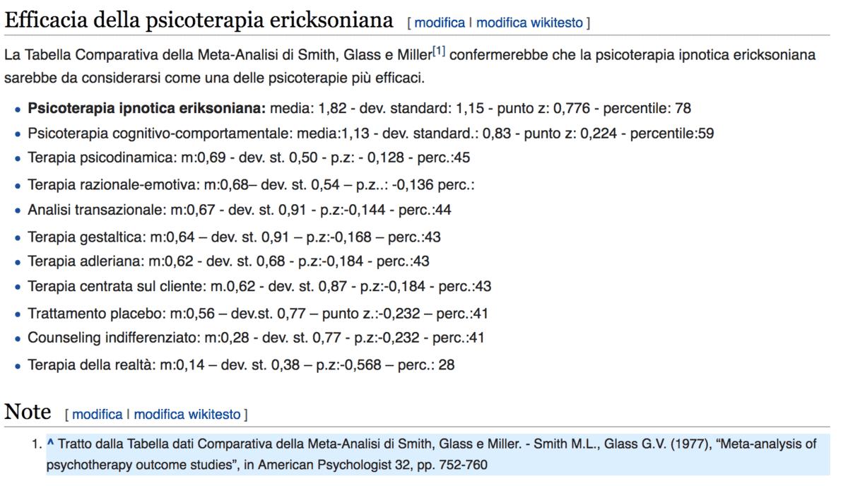 Efficacia psicoterapia ericksoniana