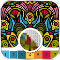 Mandala flowers color by number - pixel art icon