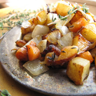 Caramelized Turnips, Potatoes, & Carrots with Onions & Thyme.