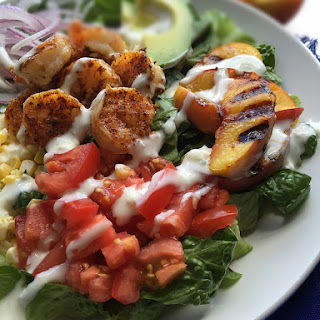 Summer Shrimp Salad with Grilled Peaches and Fresh Corn.