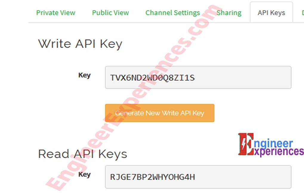 API Key Tab of ThingSpeak