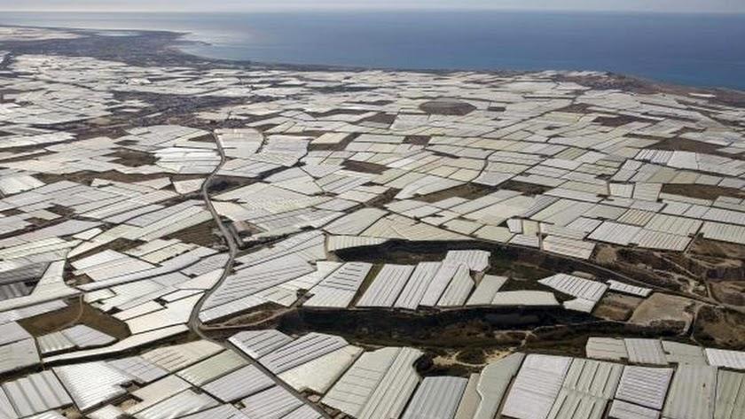 Vista aérea de los invernaderos del Poniente, donde se producen las frutas y hortalizas que abastecen al mercado europeo.