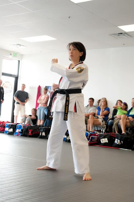 Middle-aged woman Tae Kwon Do