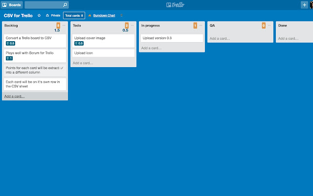 CSV Export for Trello