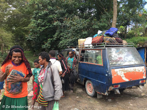 Indonesia. Papua Baliem Valley Trekking. Bemo Bus To the Trailhead