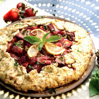 Rustic Strawberry Basil Crostata {or Galette} with Lemon Mint Cream Cheese