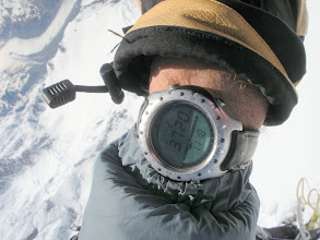 Photo: A slightly ajar altimeter records the height and the time. 10 hours since we left Plateau Hut.