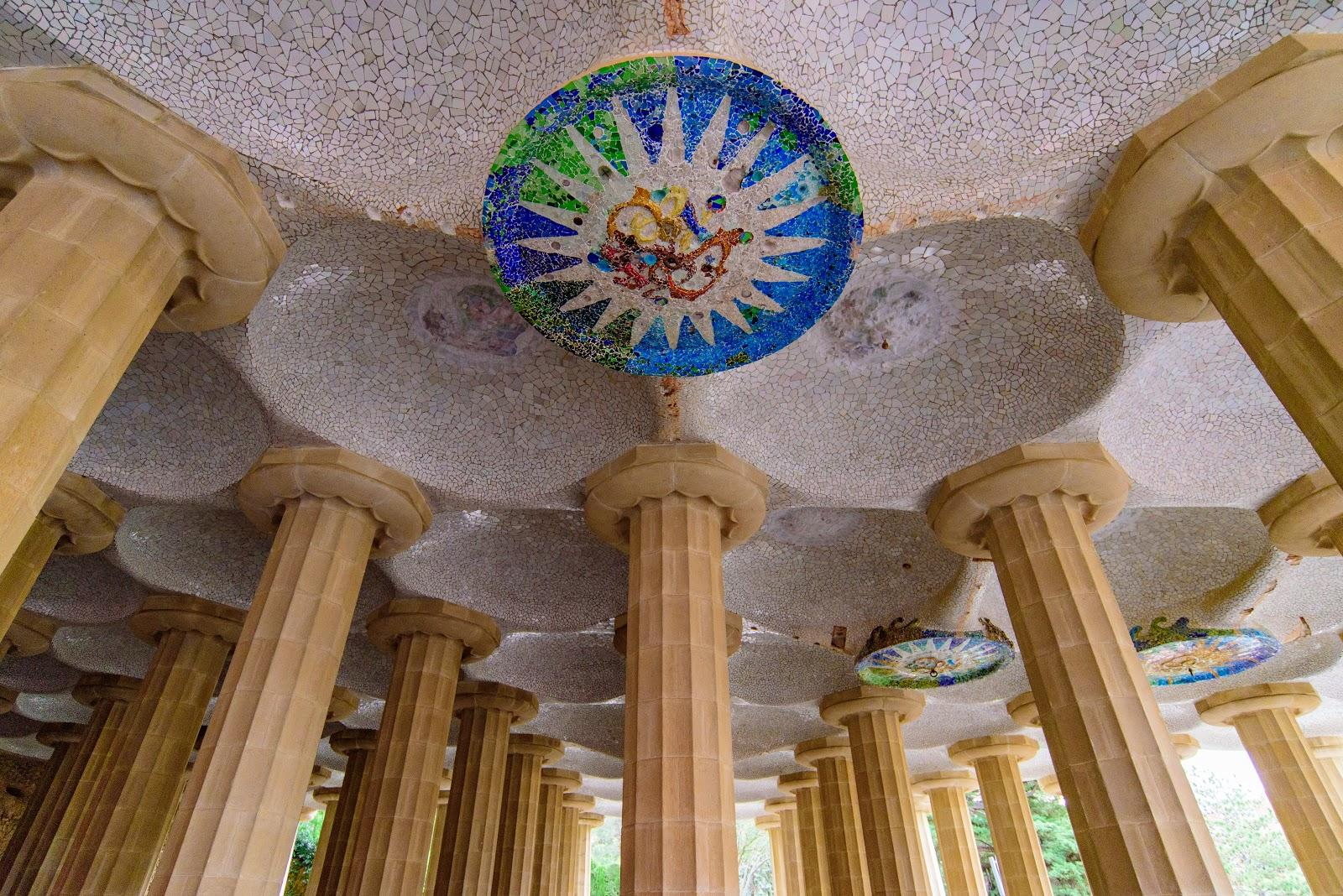 A view of the ceiling of the Hypostyle Room marketplace in Park Guell.