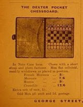 "Photo: CH504 Advert from The Chess Amateur for the ""Dexter"" set - 1910.  ....if anyone has one of the ""extra sets of men"" , I would be very happy to take them off their hands at a small premium to list-price!  A further ad. for this set can be seen in the Gamages catalogue page shown in my 'Oddities' album (this mentions the xylonite pieces)."
