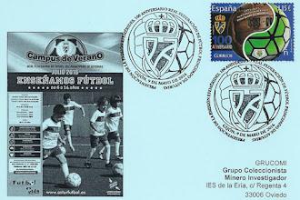 Photo: Tarjeta del matasellos de presentación del sello del Centenario de la Real Federación de Fútbol del Principado de Asturias